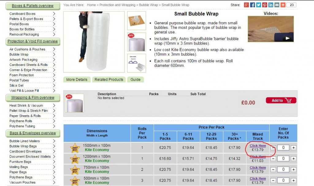 Step 1: On the bubble wrap product page click on the link under the 'Mixed Truck' column.
