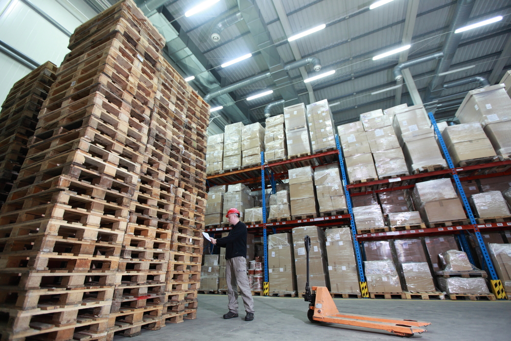 Pallets Stacked In Warehouse