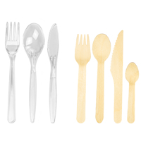 Plastic and wood cutlery - Medium