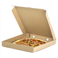 open pizza box with pizza inside  - Medium