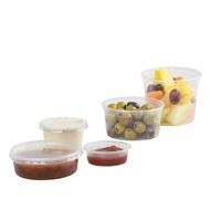 various plastic pots containing food - Medium